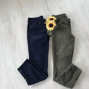 2 pair Bundle of JCrew skinny corduroys w/ zip